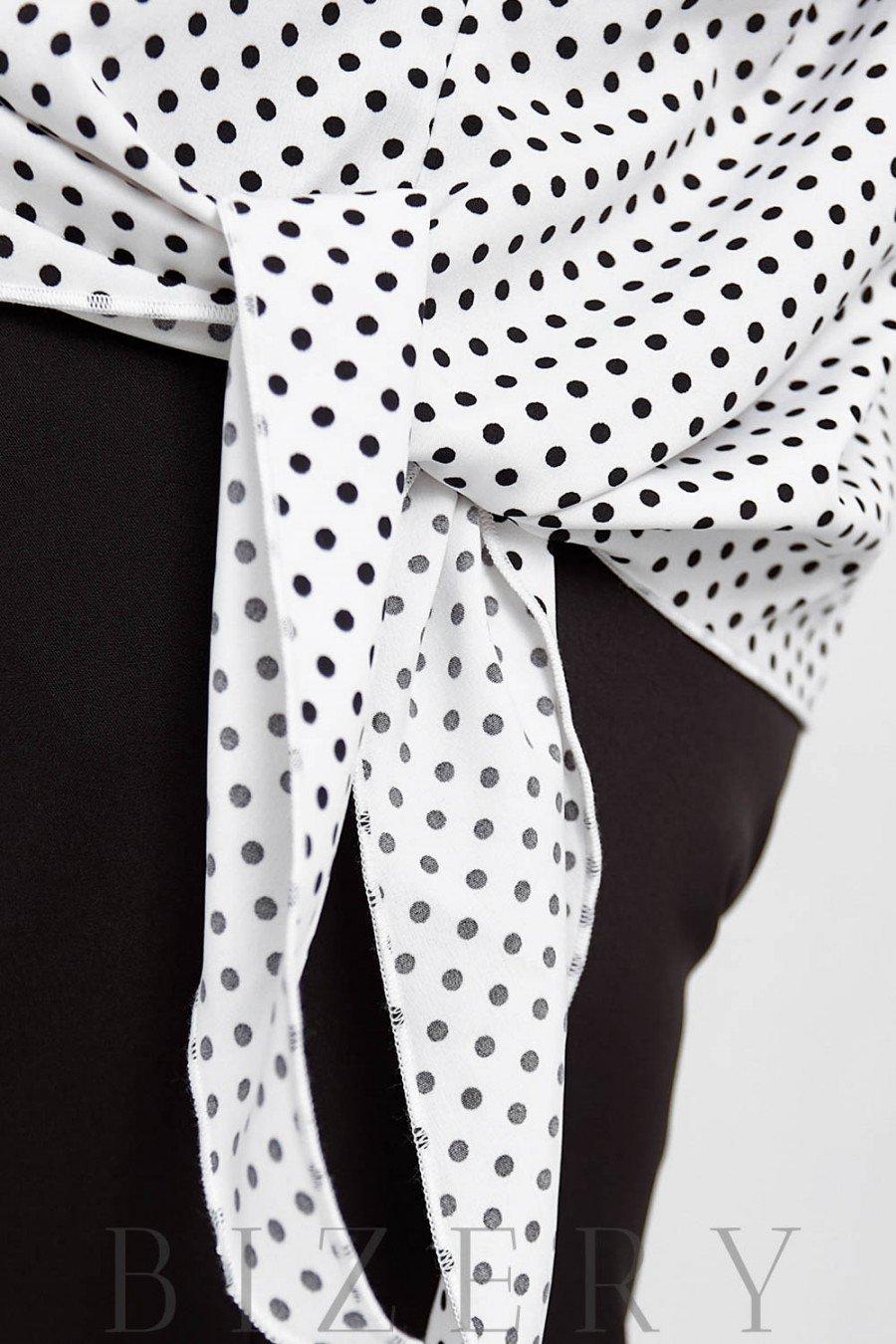 Брючный костюм с блузкой в горошек цвет белый B1054