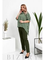 Брючный костюм с блузкой в горошек цвет зеленый B1055