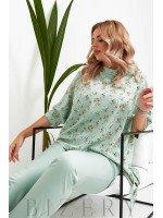 Брючный костюм с блузкой в цветочный принт цвет светло-оливковый B1058