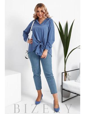 Женская блузка в горошек большого размера в джинсовом цвете B1066