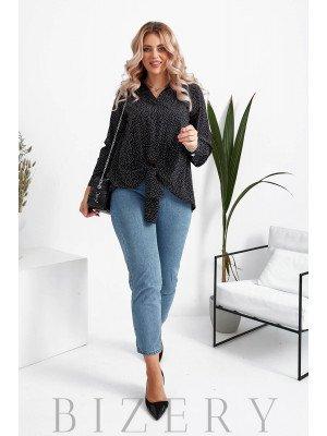 Женская блузка в горошек большого размера в черном цвете B1067