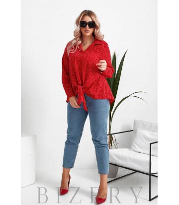 Женская блузка в горошек большого размера в красный цвете B1068