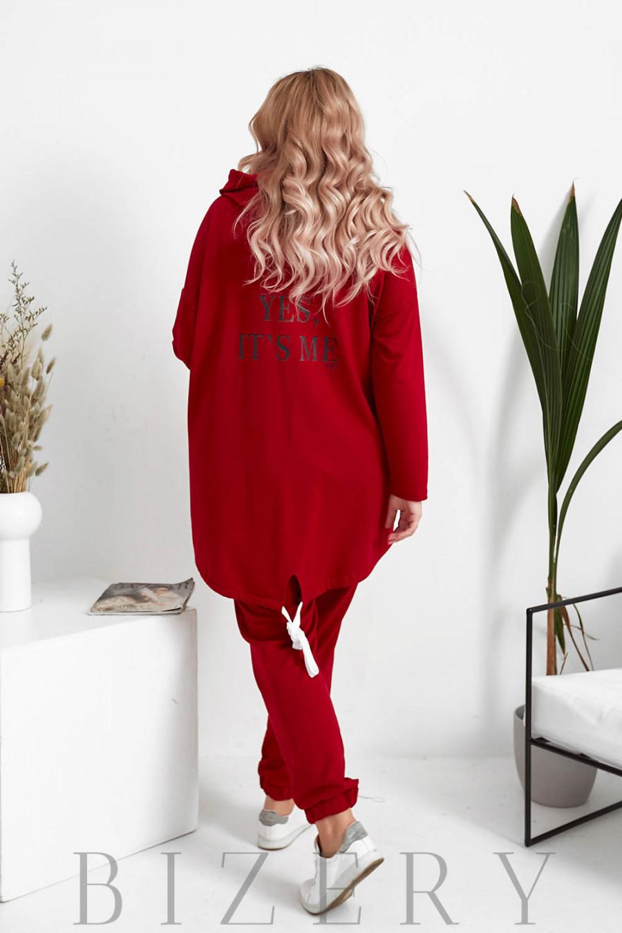 Женский костюм свободного кроя в красном цвете B1073