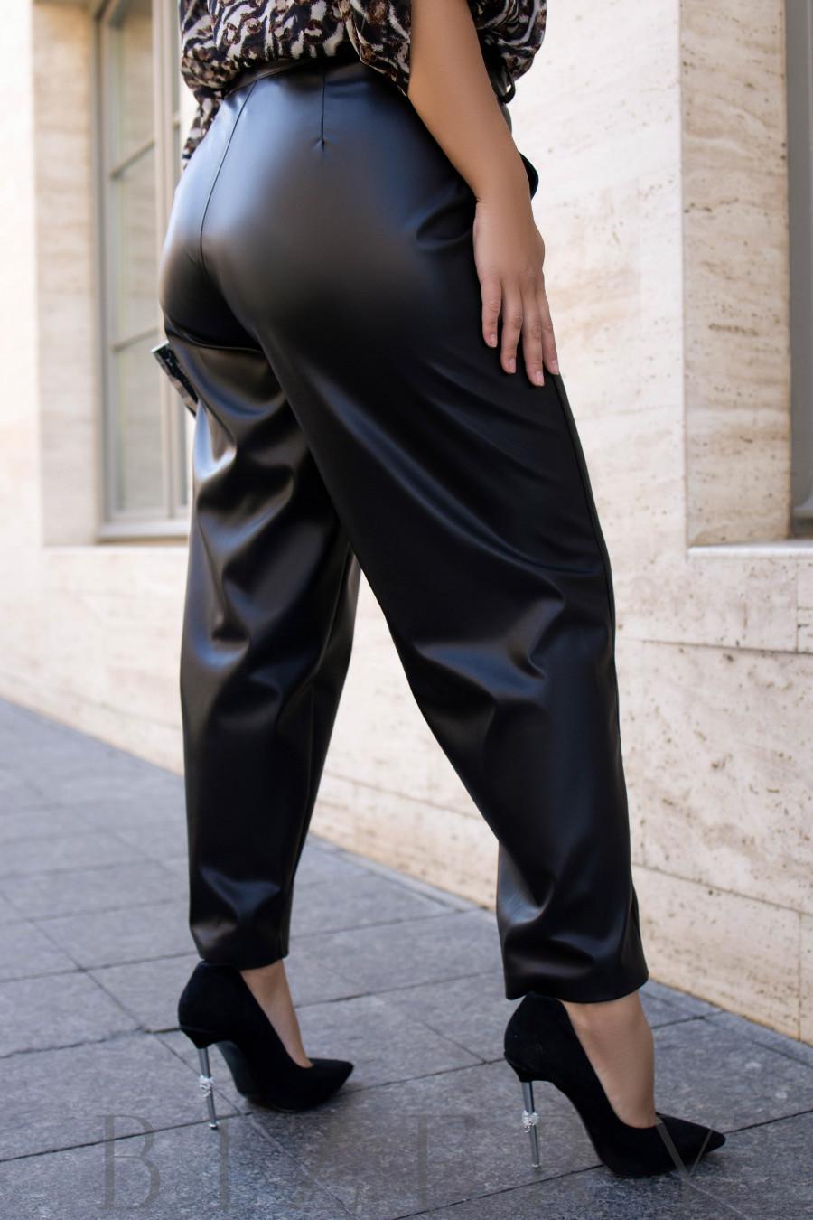 Кожаные черные брюки B1129