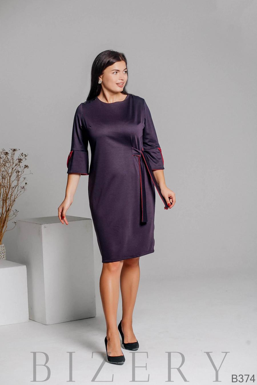 Элегантное трикотажное платье фиолетового цвета B374