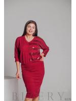 Костюм вязка с юбкой ягодного цвета B376