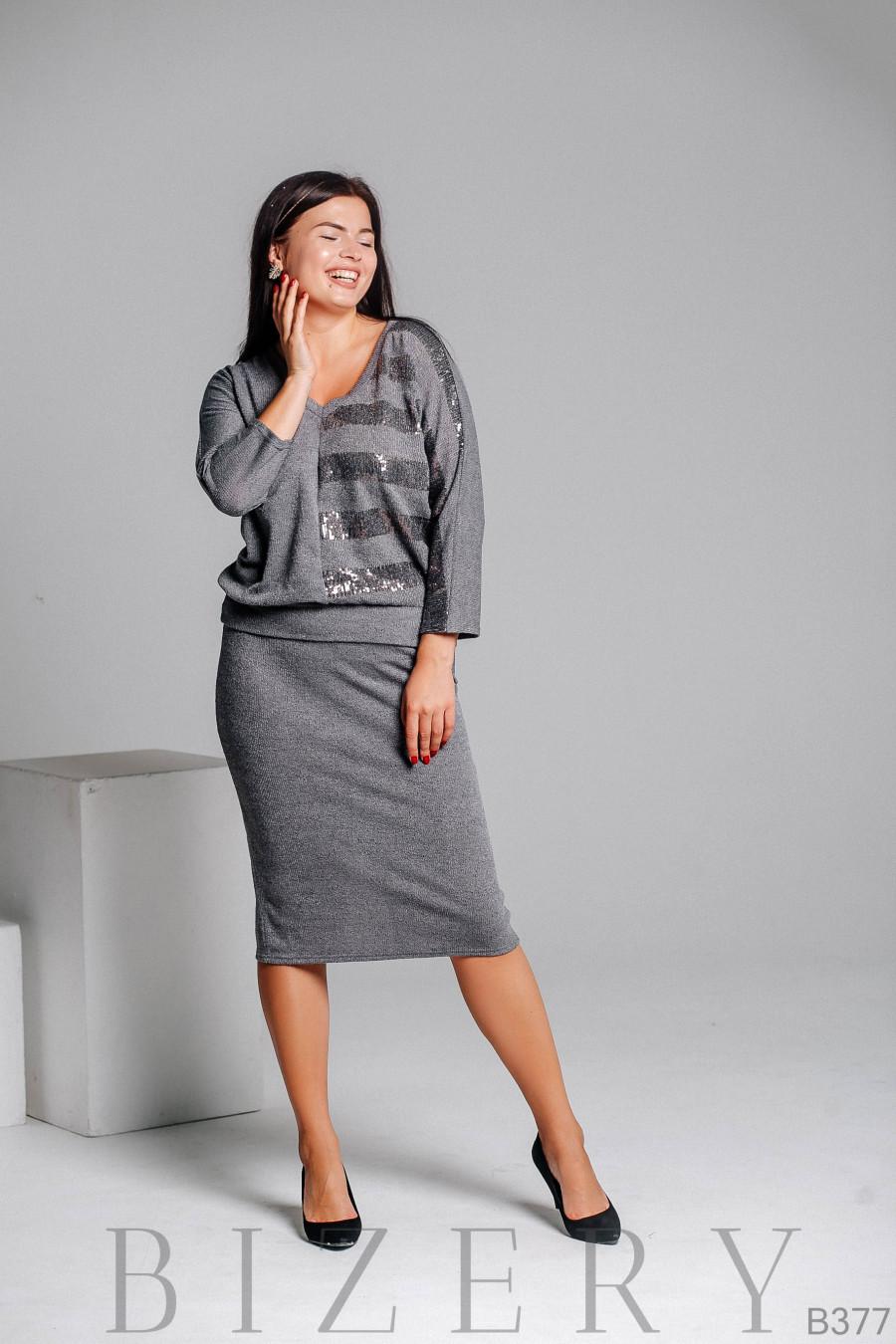 Костюм вязка с юбкой серого цвета B377