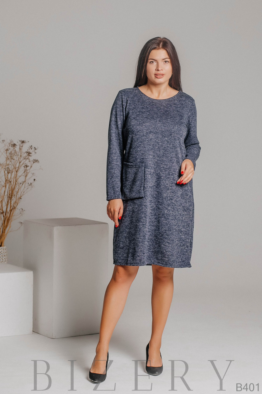 Платье из мягкой ткани ангора-софт в синей расцветке B401