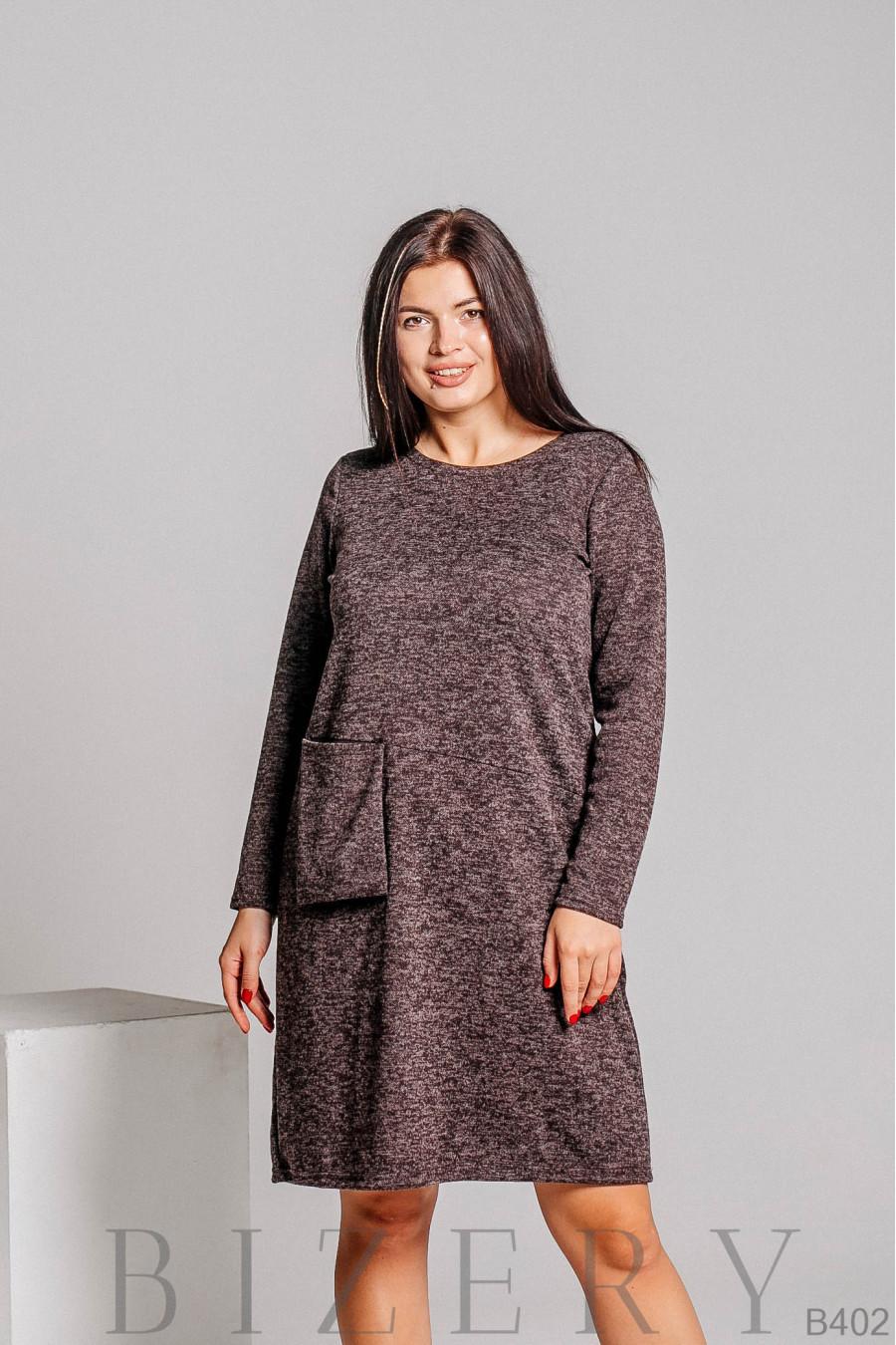 Платье из мягкой ткани ангора-софт в коричневой расцветке B402