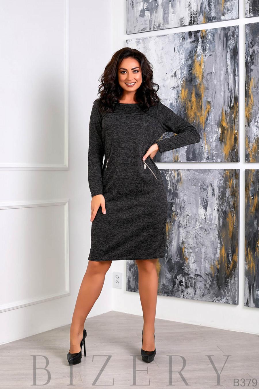 Платье повседневное из мягкой ткани ангора-софт B379