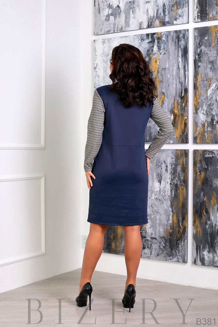 Трикотажное платье синего цвета с декоративной молнией B381