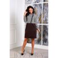 Трикотажное платье коричневого цвета с декоративной молнией B383