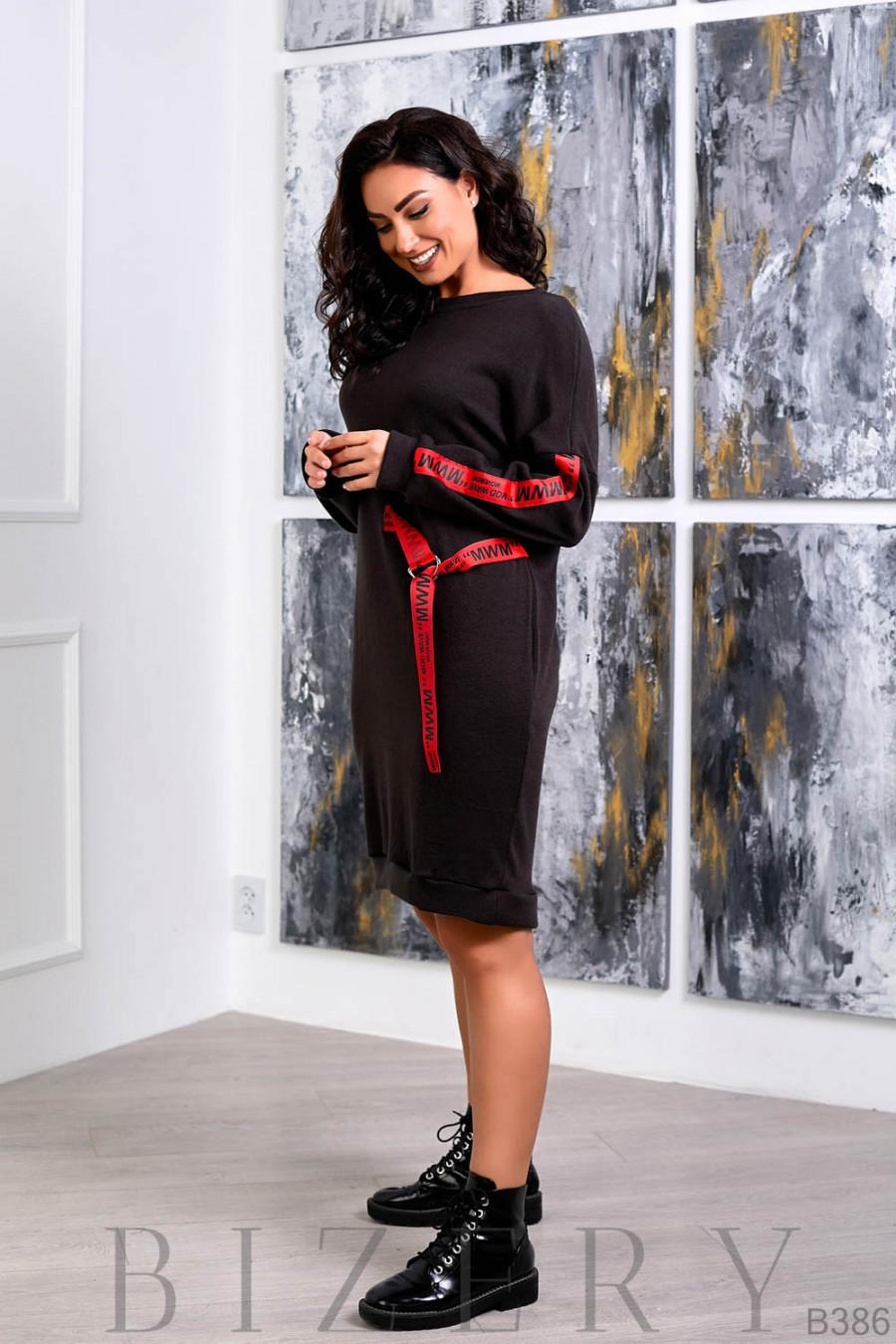 Повседневное платье полу-спорт в чёрном цвете B386