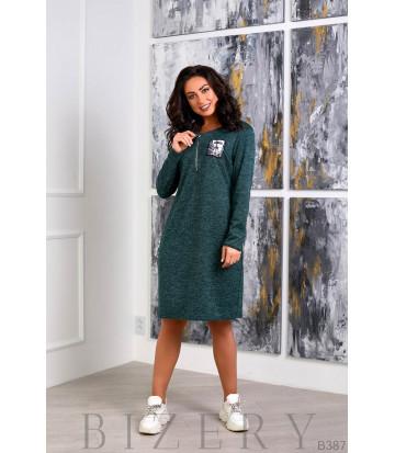 Платье из мягкой ангора-софт зелёного цвета B387