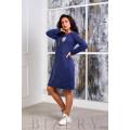 Платье из мягкой ангора-софт синего цвета B388