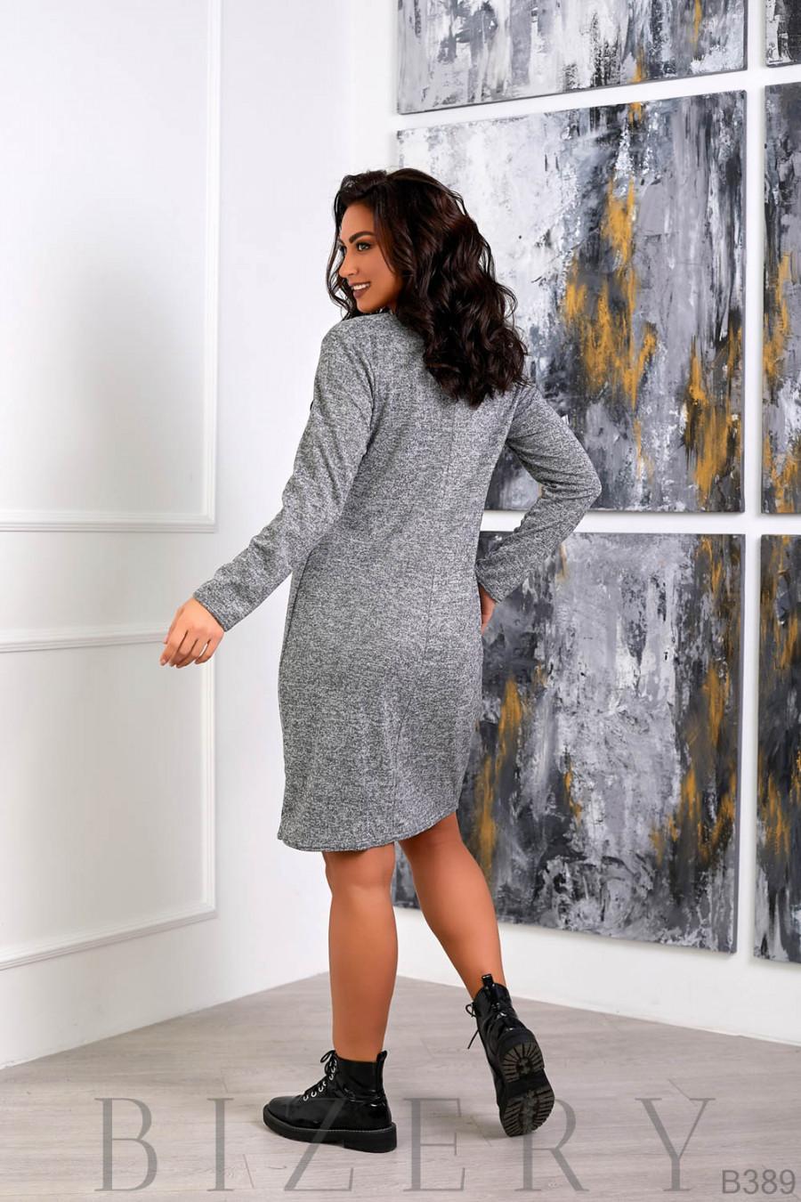 Платье из мягкой ангора-софт серого цвета B389