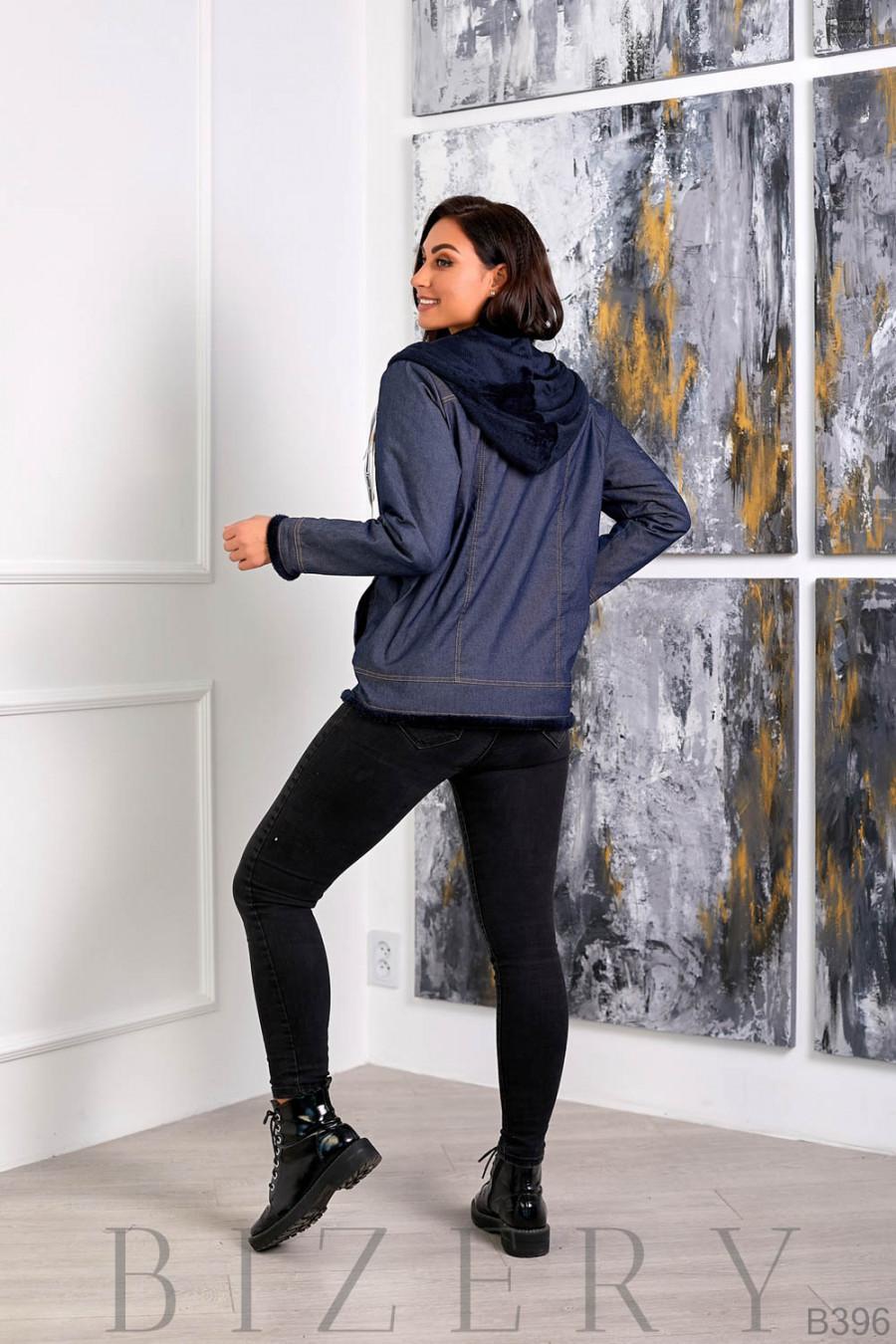 Утеплённая джинсовая куртка с тёмно-синим мехом B396