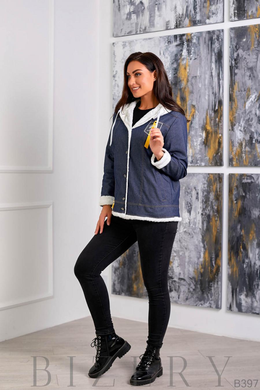 Утеплённая джинсовая куртка с белым мехом B397