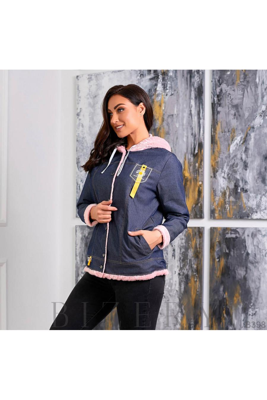 Утеплённая джинсовая куртка с розовым мехом B398