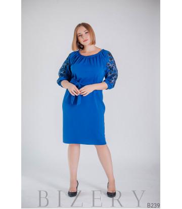 Синее коктейльное платье с рукавами-фонарик B239