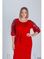 Красное коктейльное платье с рукавами-фонарик B240