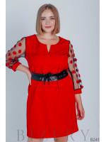 Красное платье мини с рукавами сеточка украшено декоративными цветочками B241