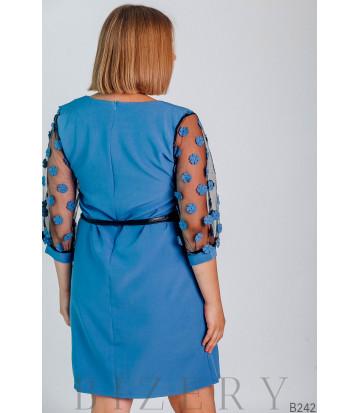 Голубое платье мини с рукавами сеточка украшено декоративными цветочками B242