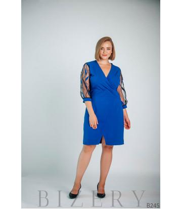 Синее платье с глубоким вырезом декольте B245