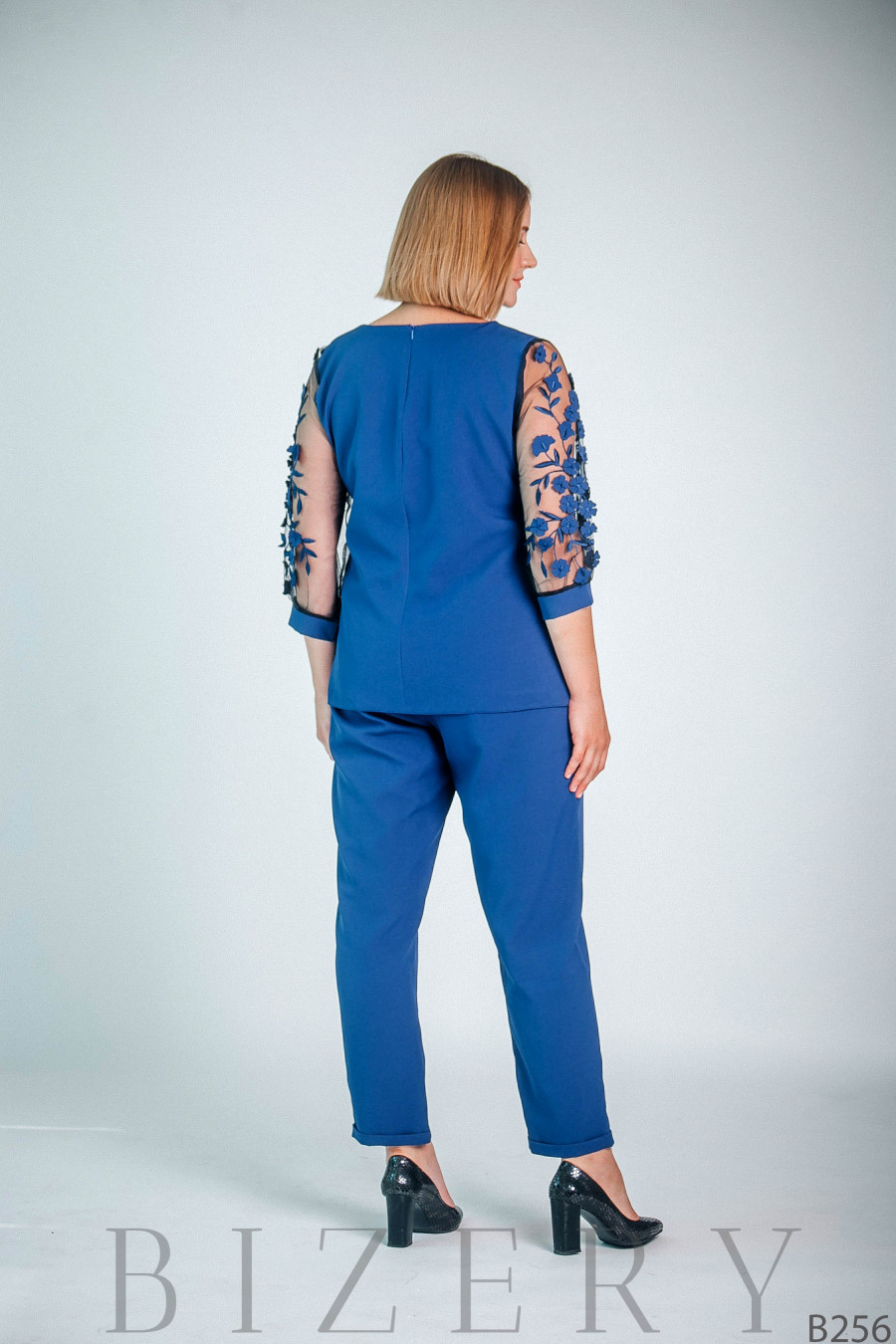 Синий брючный костюм большого размера B256