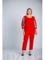 Красный брючный костюм большого размера B257