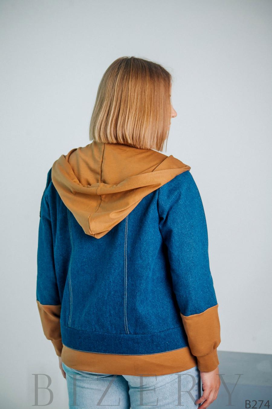 Женская джинсовая куртка с капюшоном большого размера B274