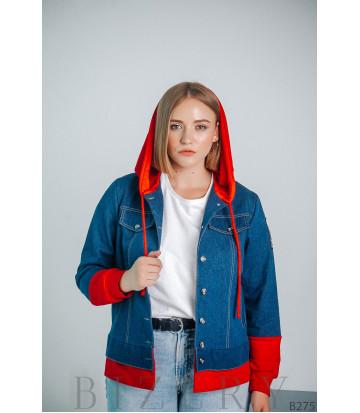 Женская джинсовая куртка с капюшоном большого размера B275