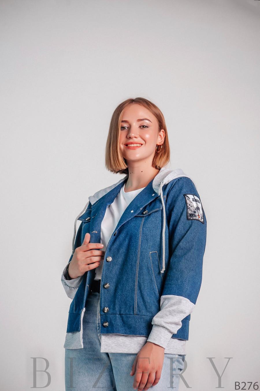 Женская джинсовая куртка с капюшоном большого размера B276