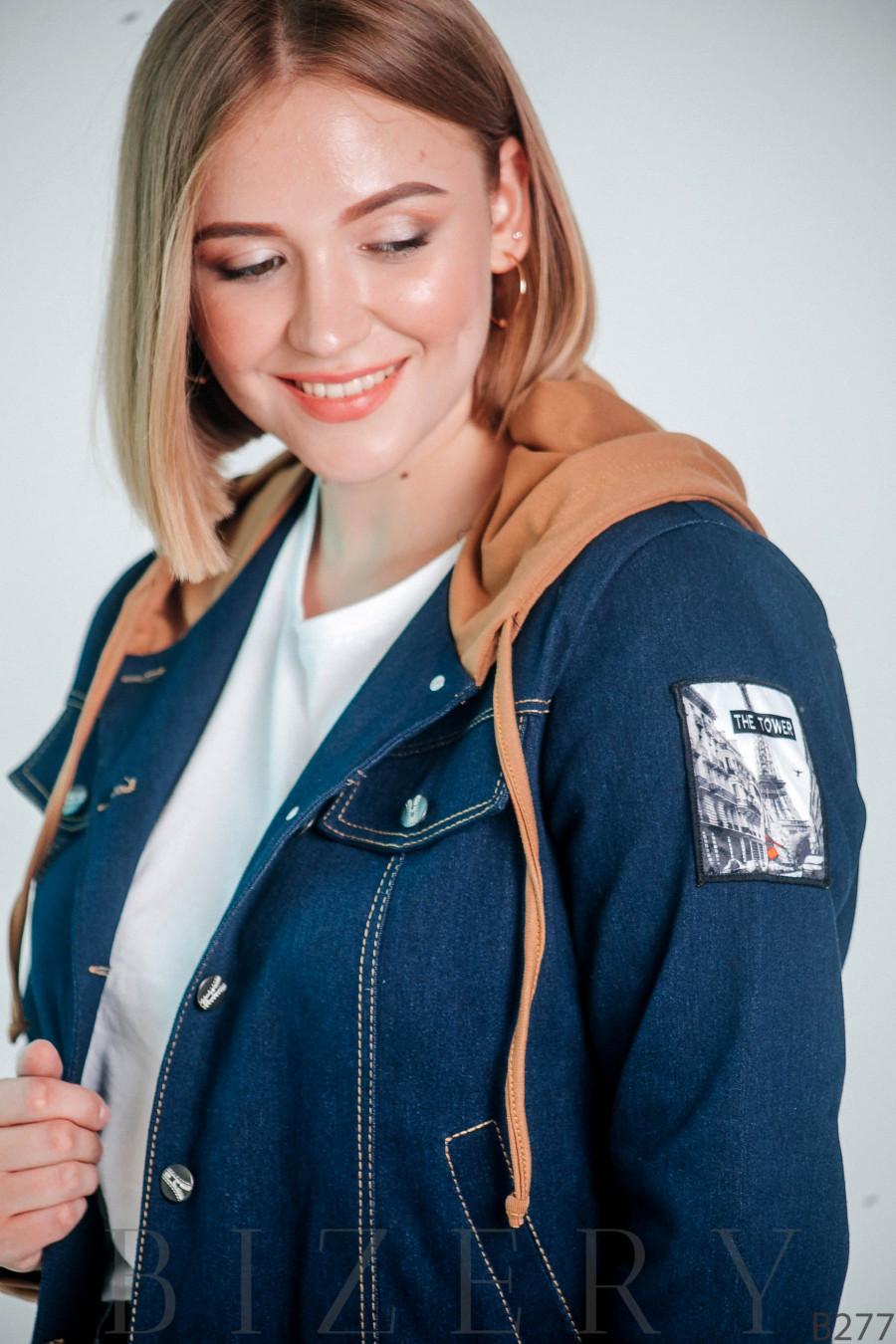 Женская джинсовая куртка с капюшоном большого размера B277
