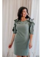 Коктейльное платье с воланами на рукавах фисташковой расцветки B292