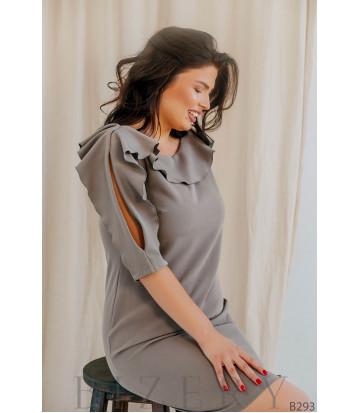 Коктейльное платье с воланами на рукавах цвет капучино B293