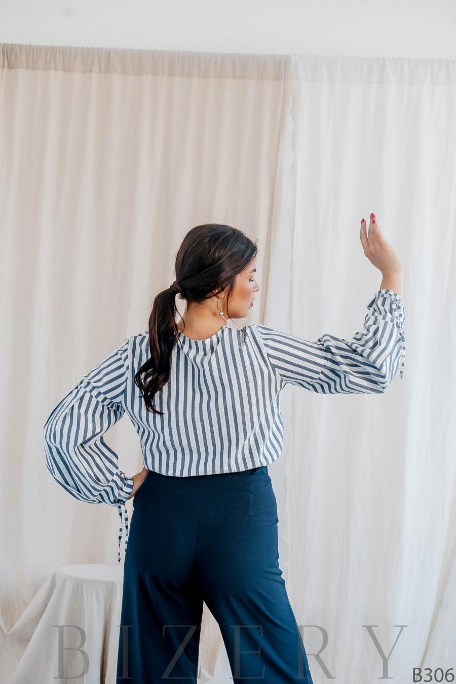 Стильная  блуза в полоску с объёмными рукавами B306