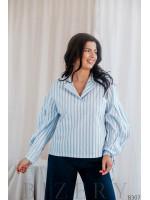 Стильная  блуза в полоску с объёмными рукавами B307