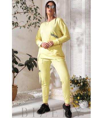 Трендовый спортивный костюм лимонный В744