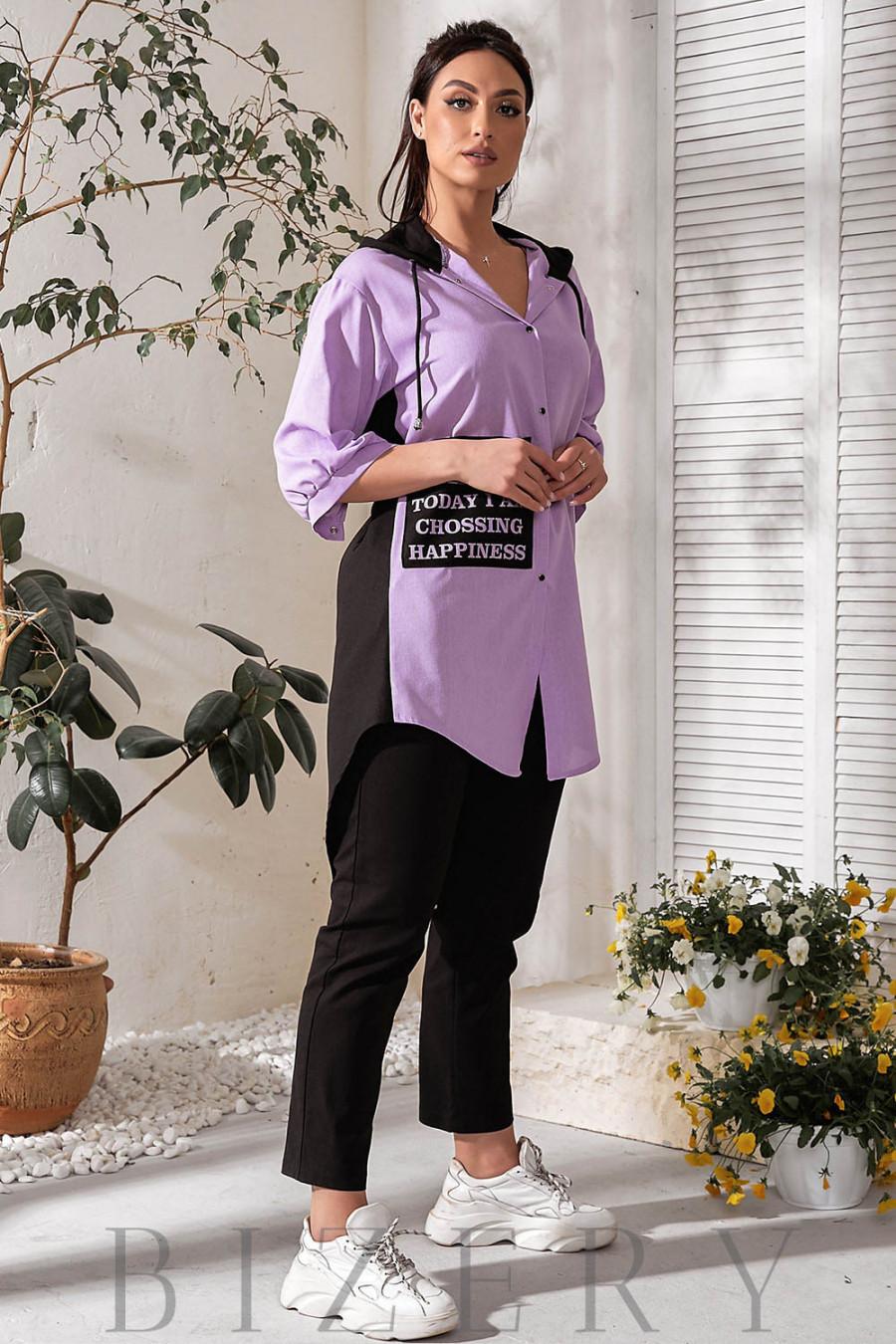 Льняной летний костюм с удлинённой рубашкой В778