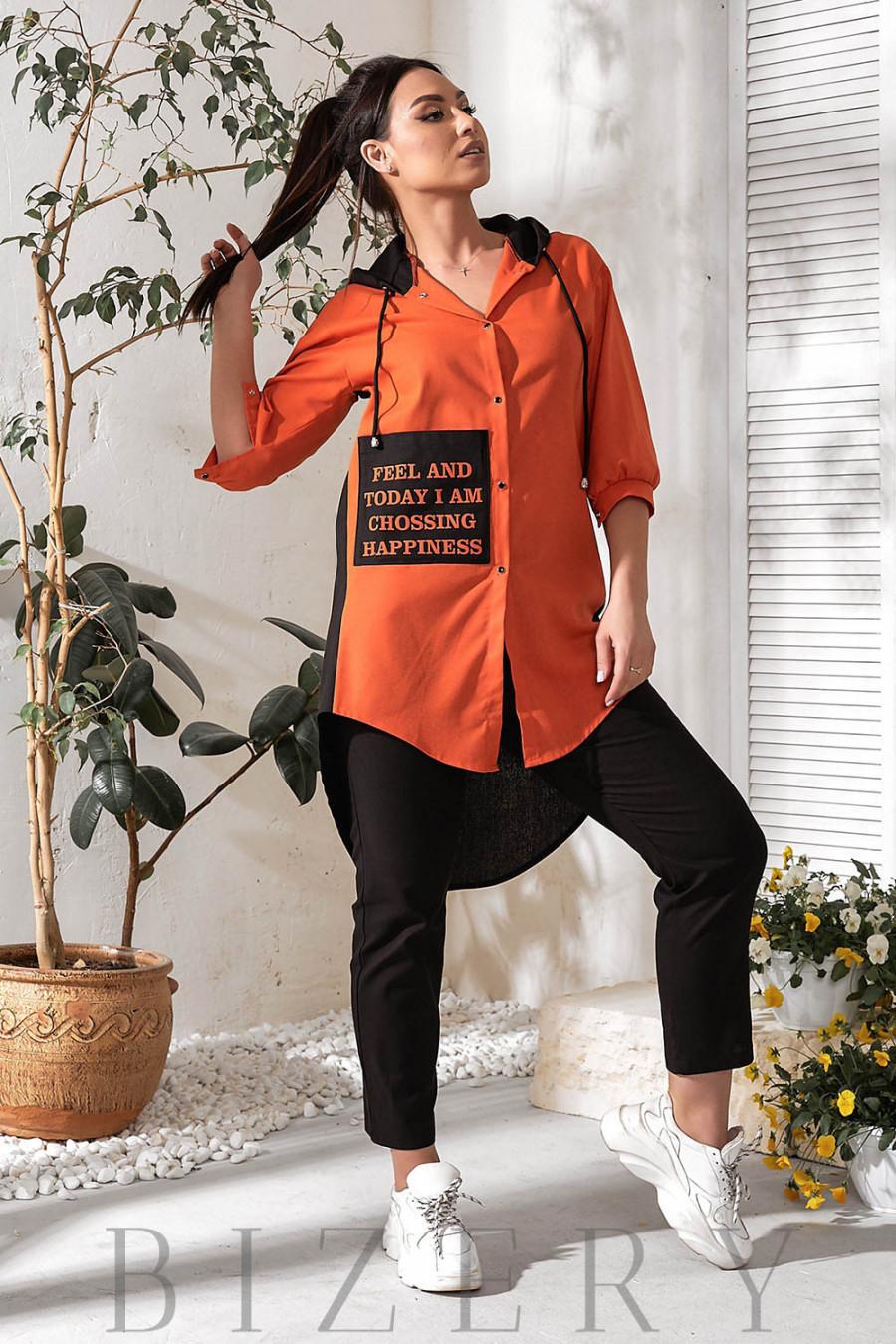 Льняной летний костюм с удлинённой рубашкой В780