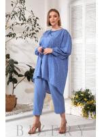 Элегантный брючный костюм plus size синий В731