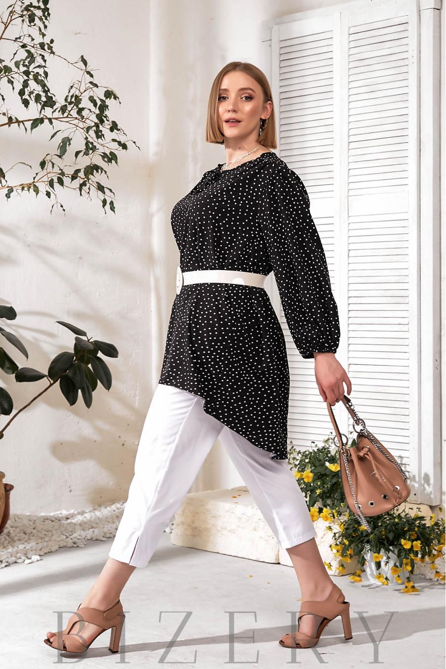 Элегантный брючный костюм plus size черный В732