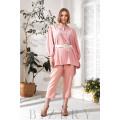 Элегантный брючный костюм plus size нежно-розовый В733