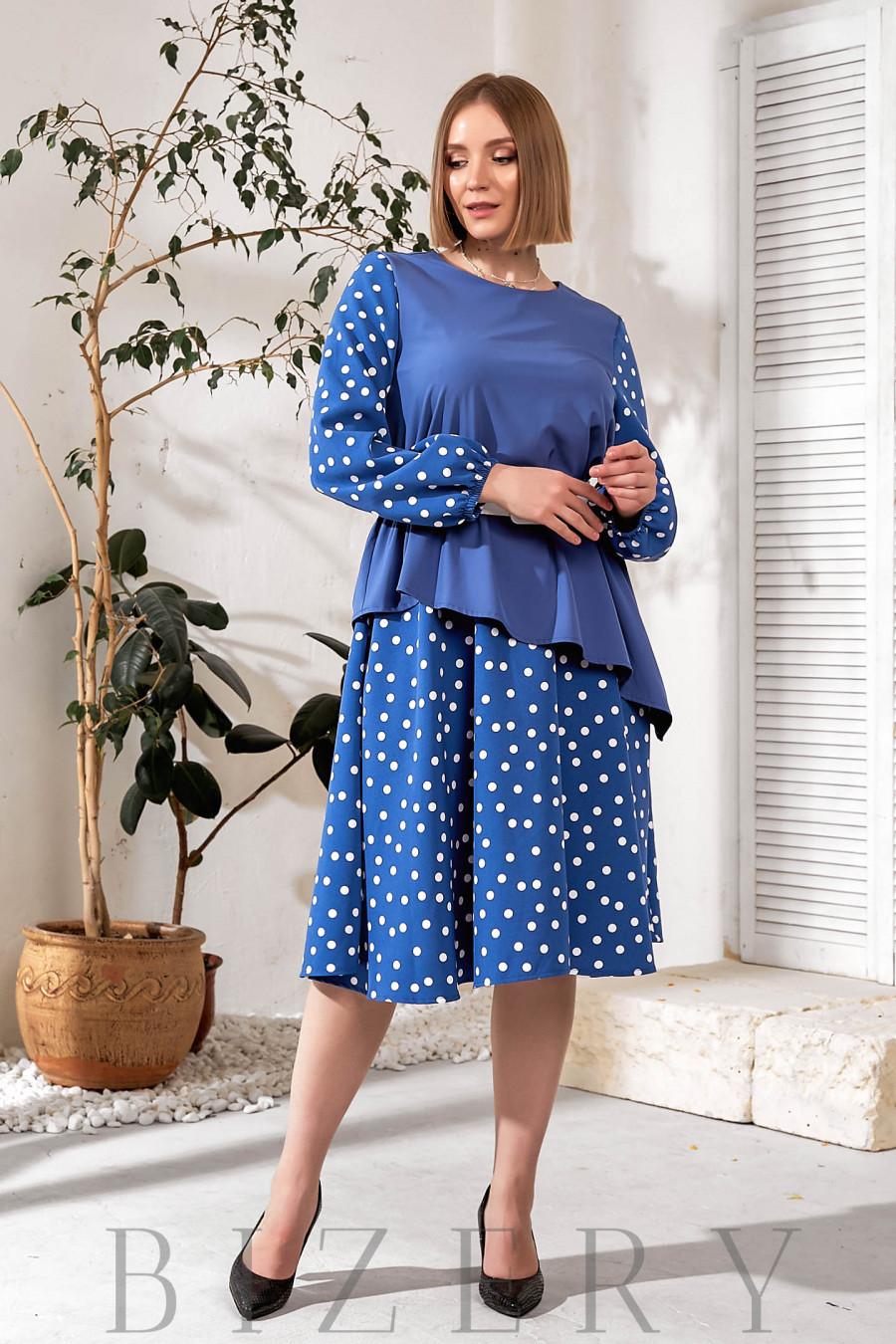 Платье А-силуэта синее в горошек В734