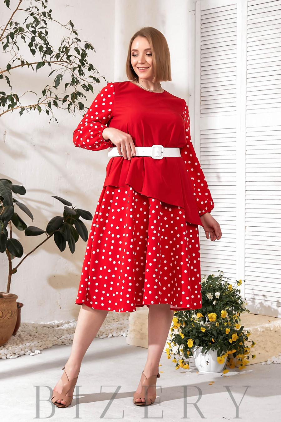 Платье А-силуэта красное в горошек В735