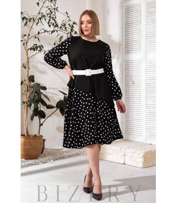 Платье А-силуэта черное в горошек В736