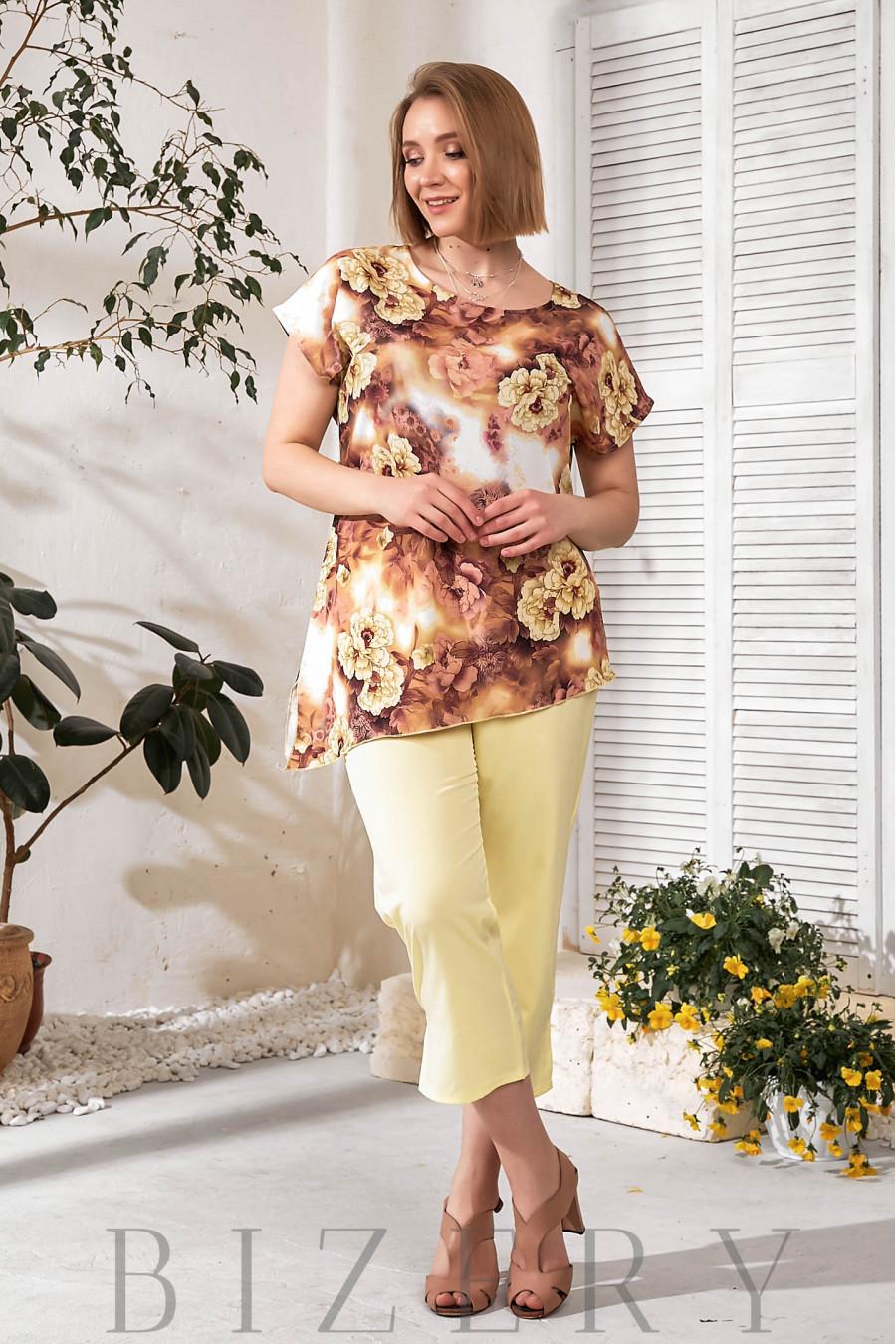 Удобный повседневный костюм с туникой желтый В737