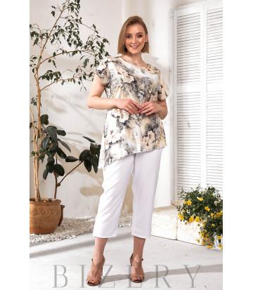 Удобный повседневный костюм с туникой белый В738