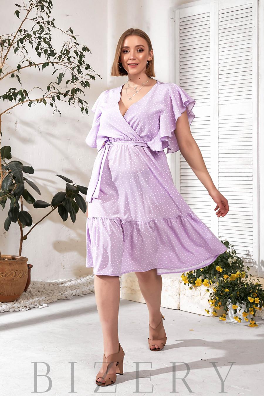 Летнее лавандовое платье с воланами В749